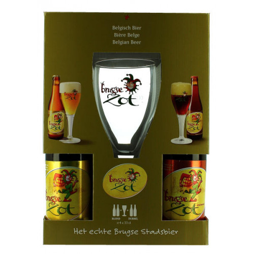 Brugse Zot Gift Pack (4x33cl + 1 Glass)