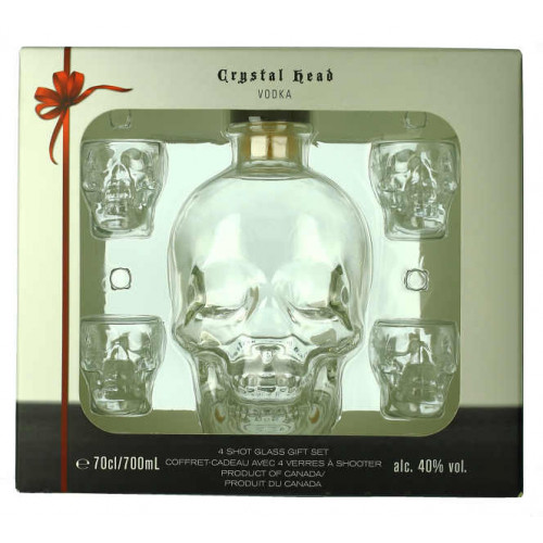 Crystal Head Vodka 700ml and 4 Glasses