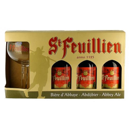 St Feuillien Noel Gift Pack (3x33cl + 1 Glass)