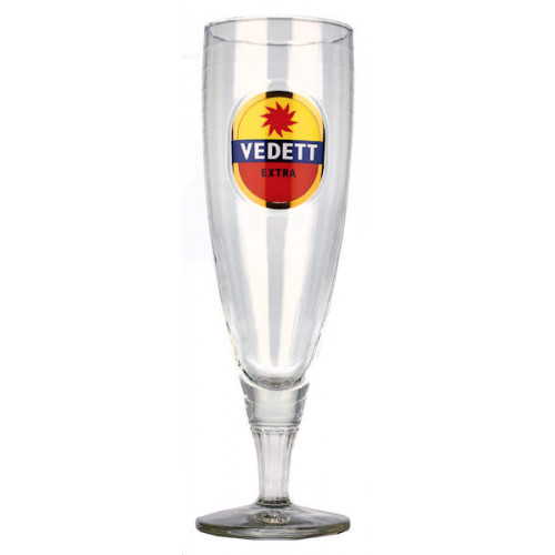 Vedett Flute Glass (Various coloured Logo's) 0.33L